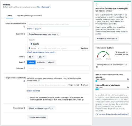 elegir audiencia en facebook ads